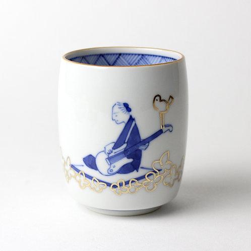 [1004]湯呑 らくがき笛吹 ギター【2月12日(金)より順次発送】