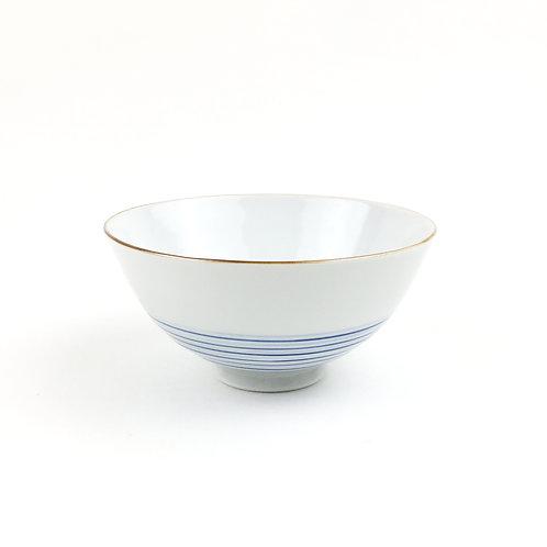 [50004]御飯茶碗大 横縞文・白【5月17日(月)より順次発送】