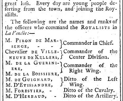 Glanes Historiques : Échos des Guerres de Vendée dans un journal anglais
