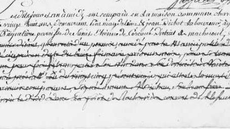 Acte de décès d'un Nantais supposé tué par les brigands en décembre 1793.