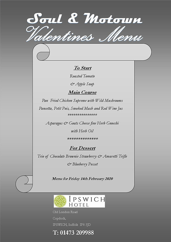 Valentines menu update from Kate 14.02.2