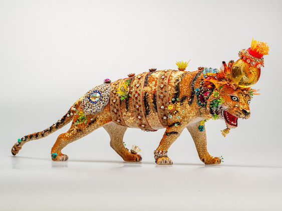 Large Embellished Prowling Tiger