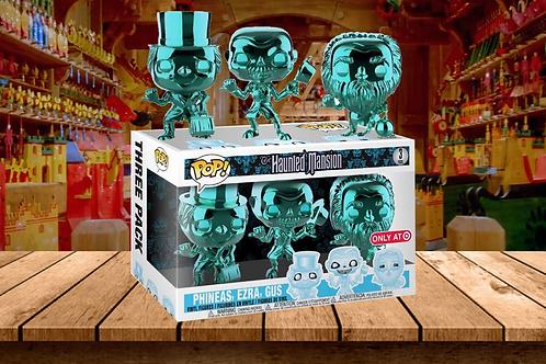 POP! Disney The Haunted Mansion 3 Pack Teal Metallic Chrome, Phineas, Ezra, Gus;