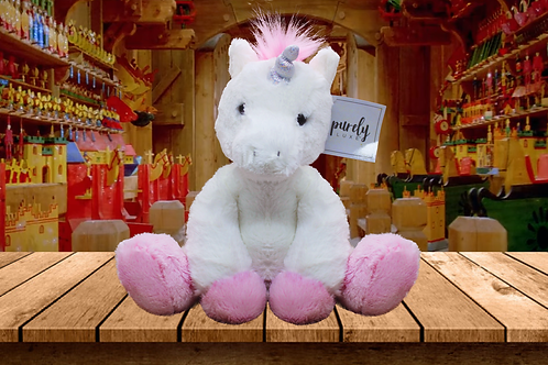 "Purely Luxe Plush White Unicorn with Pink Mane - 9"" Sitting - So Soft!"