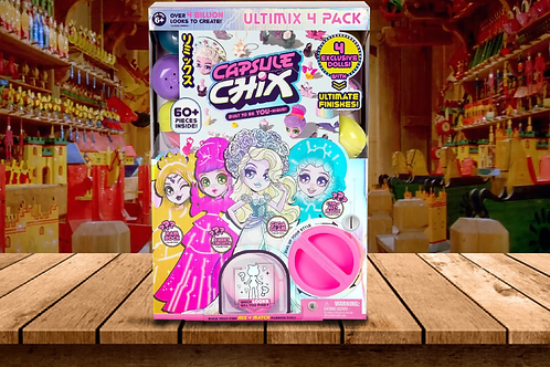 Capsule Chix Ultimix 4-Pack, 4.5 inch Small Doll with Capsule Machine