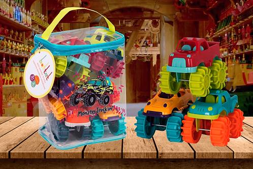 Battat Mini Monster Trucks – Set of 6 Mini Trucks for Toddlers in Storage Bag