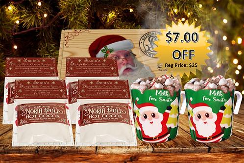 Santa's Hot Cocoa Lover's Delivery Box - Cocoa & Santa Mugs