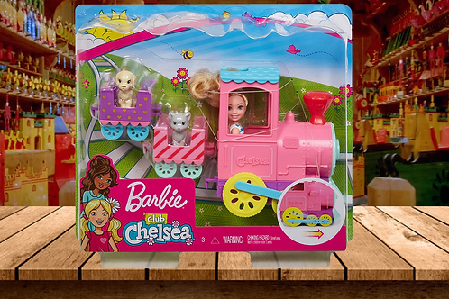 Barbie Club Chelsea Train Playset with 3 Connecting Cars, Chelsea Doll, 1 Kitten