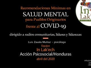 Recomendaciones mínimas en salud mental para Pueblos Originarios dirigido a radios comunitarias