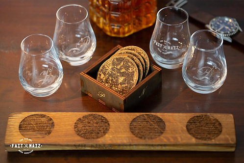 Whisky glasses with stand and coasters