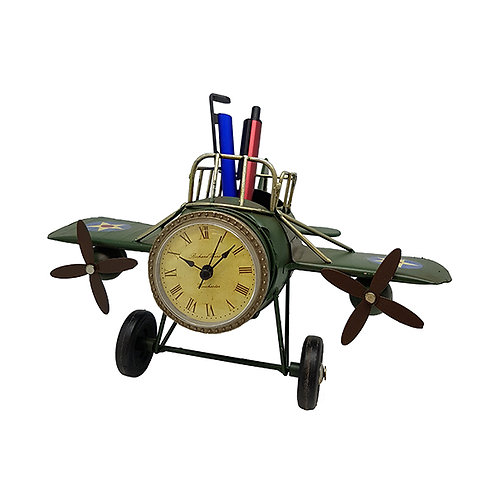 שעון שולחני   מעמד לעטים בעיצוב רטרו אווירון עתיק