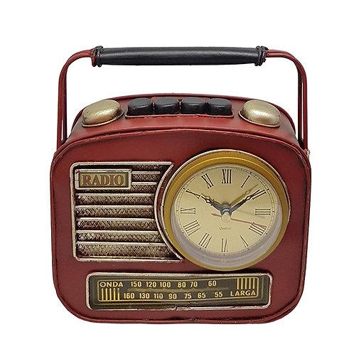 שעון שולחני | קופת חיסכון בעיצוב רדיו רטרו עם ידית נשיאה