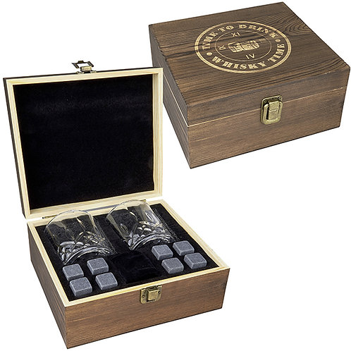 מארז מתנה וויסקי הכולל 2 כוסות ו-8 אבני קרח בקופסת עץ מהודרת