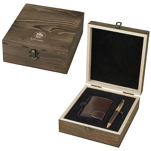 מארז מתנה מעץ עבור ארנק שולף כרטיס אשראי / ביקור ועט מבית המותג גבעוני