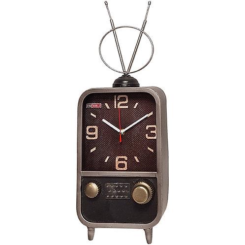 שעון שולחני בעיצוב רטרו בצורת טלוויזיה עם אנטנות