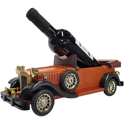 מכונית ענתיק וינטג' מעץ בגוון אגוז חום מעמד לבקבוק יין