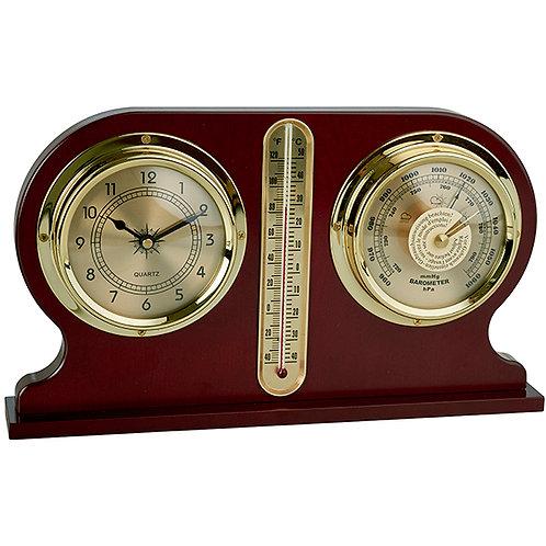 שעון שולחני בשילוב ברומטר וטרמומטר עץ