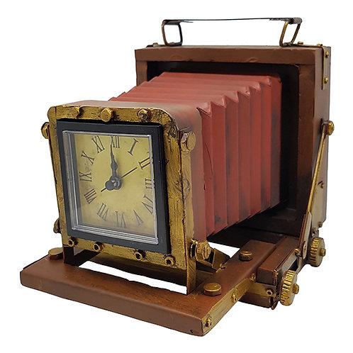 שעון שולחני בעיצוב רטרו מצלמת אקורדיון עם ידית נשיאה