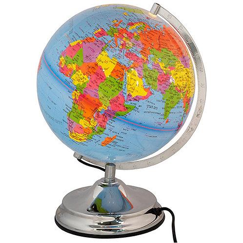 גלובוס דקורטיבי מאיר מפת העולם בעברית