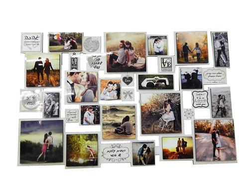 פלטת עץ עם תמונות וכיתובים