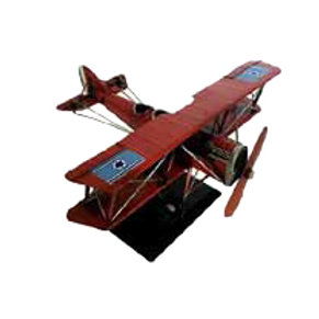 מטוס מתכתי אדום דו כנף