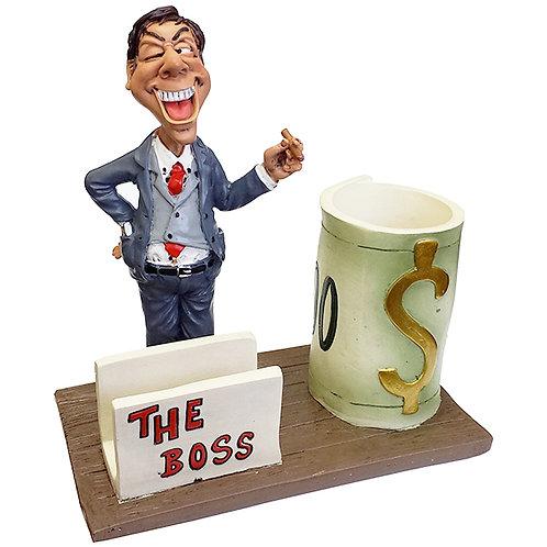 מעמד פסל איש עסקים עם כוס לעטים ומעמד כרט´ ביקור