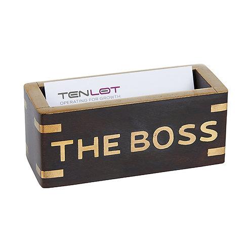 מעמד כרטיסי ביקור THE BOSS עשוי שילוב עץ ונחושת BRASS