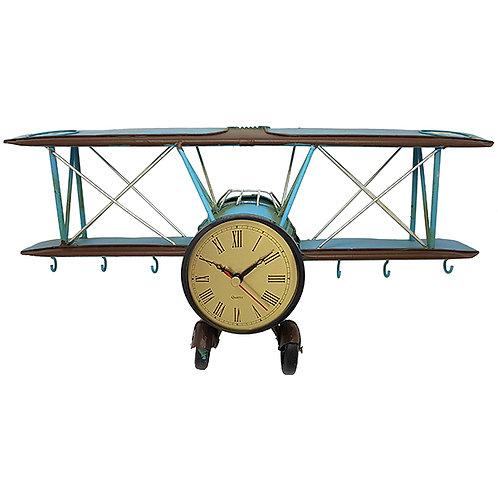 שעון קיר   שולחני בעיצוב רטרו אווירון עתיק דו כנפי