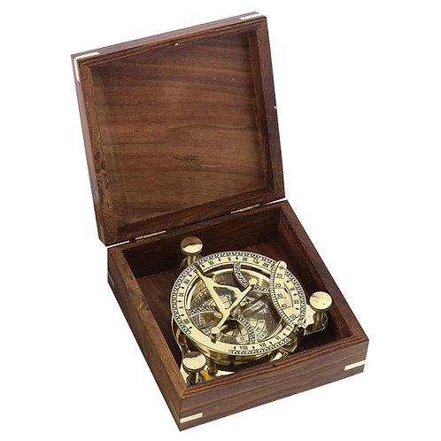 """""""נלסון"""" מצפן שעון שמש מהודר במארז עץ"""