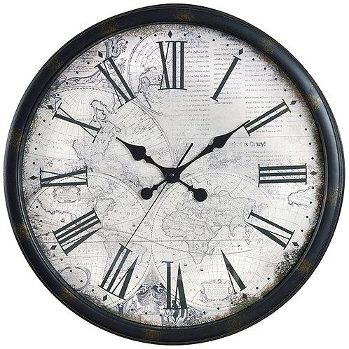 שעון קיר מפת עולם