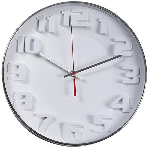 """""""ציריך"""" שעון קיר לבן עם ספרות תלת מימד"""