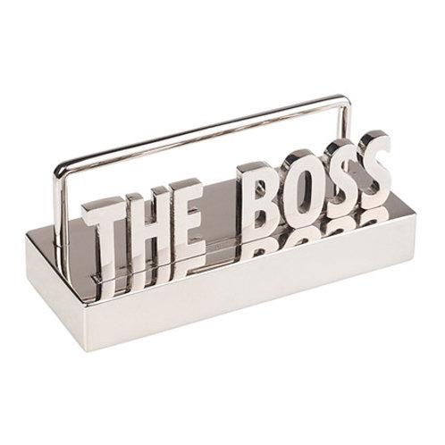 """""""THE BOSS"""" מעמד כרטיסי ביקור מתכת מבריק"""