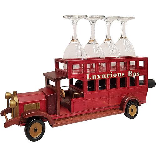 אוטובוס עתיק וינטג' מעץ בגוון מהגוני מעמד לבקבוק יין ו-4 כוסות