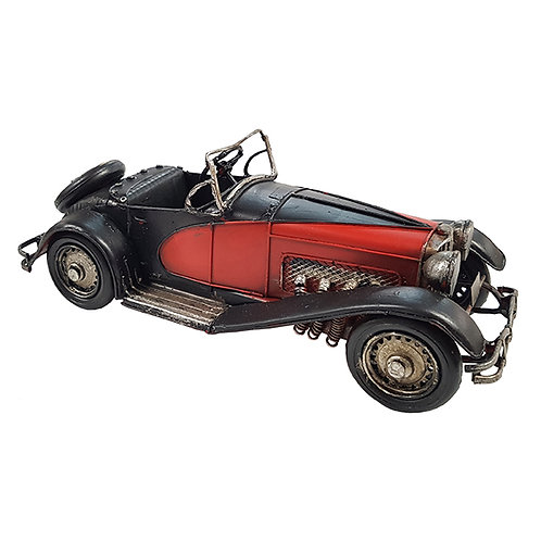 מכונית ספורט רטרו שחור/אדום עם מושבי עור שחור
