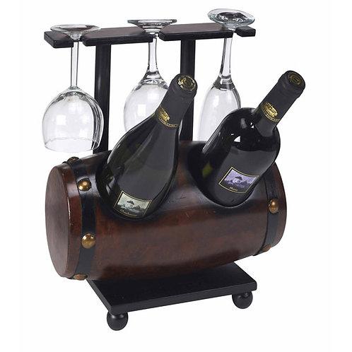מעמד ל-2 בקבוקי יין ו-3 כוסות