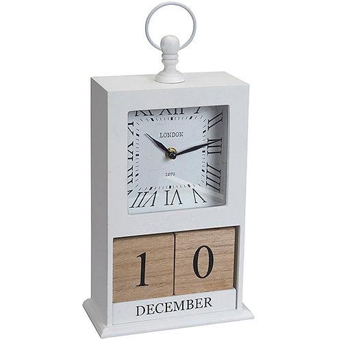 שעון שולחני מעץ וקלנדר קוביות