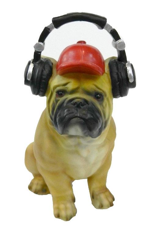 """פסל כלב """"פאג"""" עם אוזניות קופת חיסכון"""