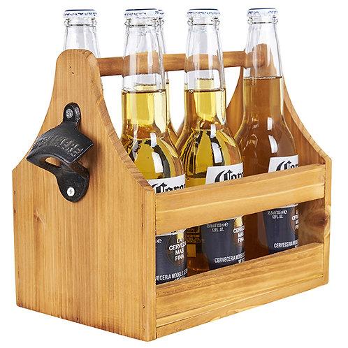 מנשא עץ לשישה בקבוקי בירה עם פותחן