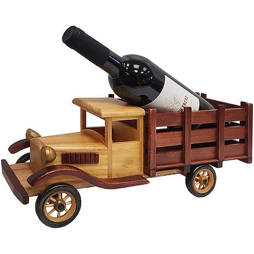 משאית עתיקה וינטג' מעץ בגוון בהיר מעמד לבקבוק יין