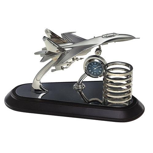 מעמד שולחני יוקרתי מטוס שעון וכוס לעטים
