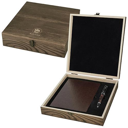 מארז מתנה מעץ עבור מחברת / יומן A5 ועט מבית המותג גבעוני