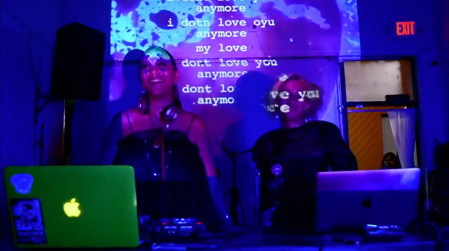 """Still from performance """"Live Translations"""" by Eva Lia and Yungcaramel"""