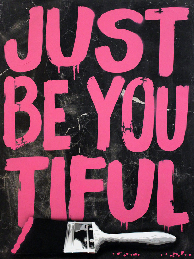 "40"" X 30"" JUST BE YOU TIFUL PINK BRUSH"