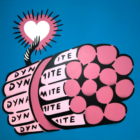 50 x 50 cm Dynamit Liebesbombe Pink / Blau