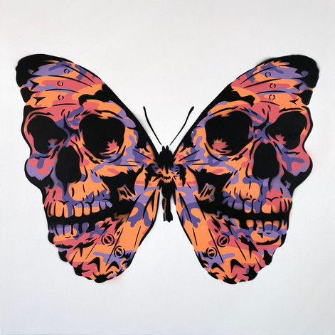 30 x 30 pulgadas Warhol Camo Skullerfly Naranja Violeta