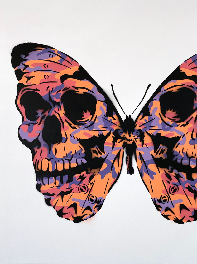 "30"" X 30"" SKULLERFLY WARHOL CAMO PURPLE ORANGE"
