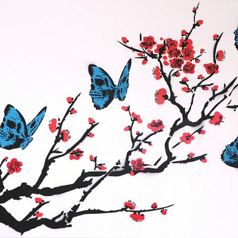 40 x 30 pulgadas Skullerfly Cherry Blossom White