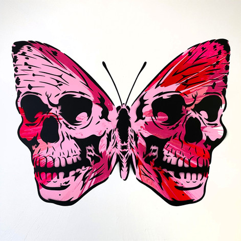30 x 30 inch Spin Painting Skullerfly Pink