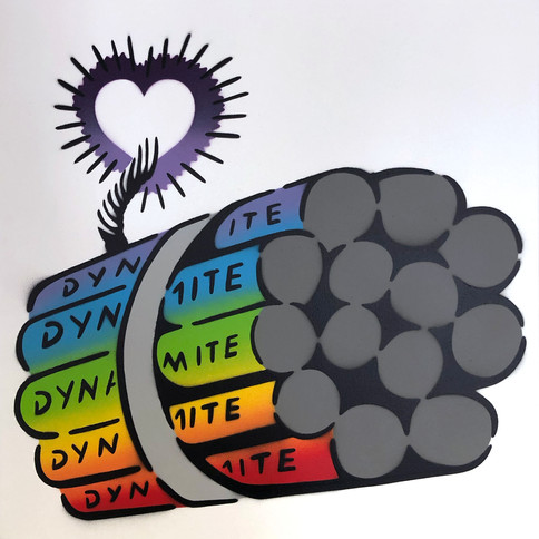50 x 50 cm Dynamit Liebesbombe Regenbogen / Weiß