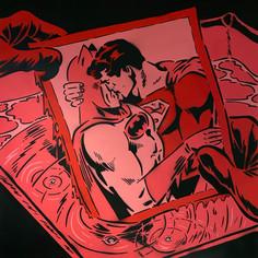40 x 40 Zoll Superman & Batman Exposed Red
